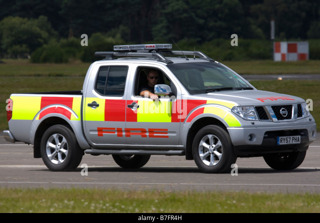 Nissan Frontier of Rescue and Fire Fighting Service Farnborough Airport - Stock Image