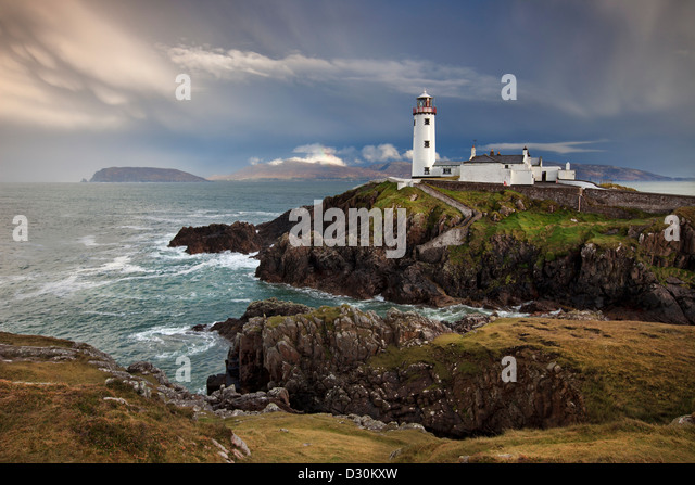Stormy day at Fanad Head Lighthouse in County Donegal. - Stock-Bilder