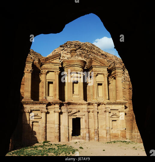 The Monastery is one of Petra's prettiest Nabatean monument. - Stock Image