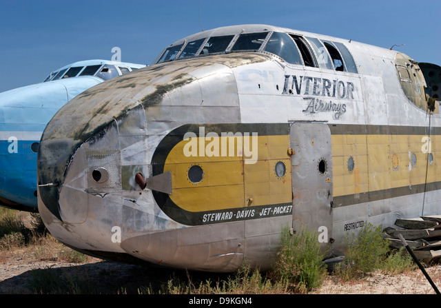 Fuselage of a C-82 Packet sits in the Hawkins & Powers storage area in Greybull, Wyoming prior to auction in - Stock Image