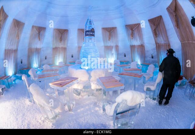 Canada, Quebec province, Montreal, Snow Village in Jean Drapeau Park on St-Helen island - Stock Image