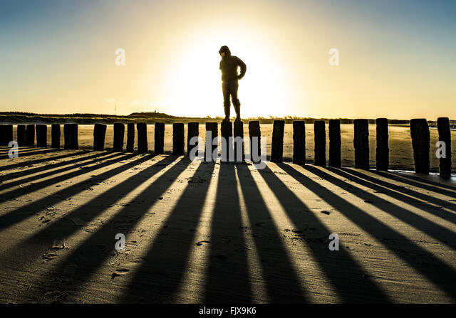 Person Standing On Wooden Posts At Beach Against Sky - Stock Image