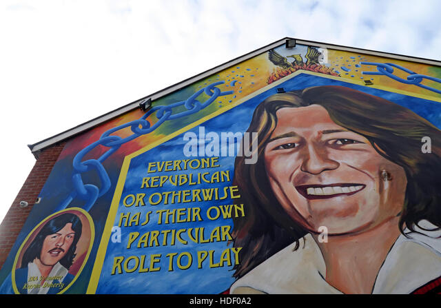 Belfast Falls Rd Republican Mural- Everyone in a revolution,has their part to play - Stock Image