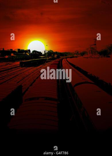 Sunset Railway - Stock Image