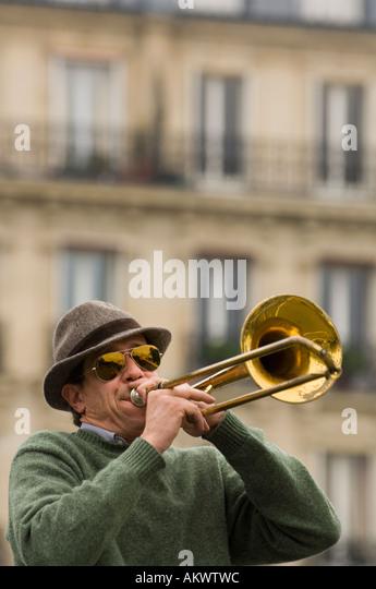 France, Paris, Street band trombone player - Stock-Bilder