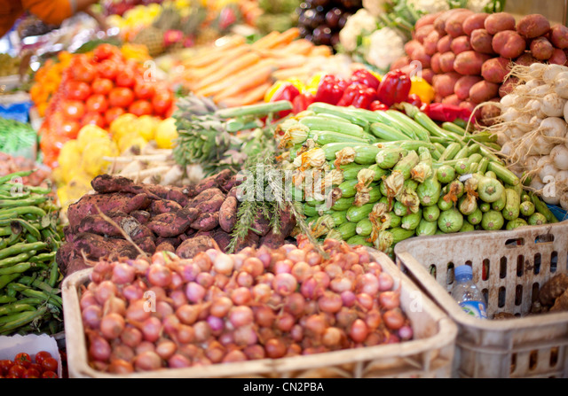 Fresh vegetables in market - Stock Image