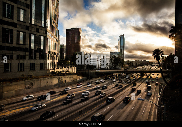 Traffic in Downtown Los Angeles - Stock-Bilder