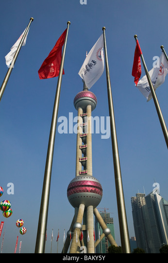 Flags and oriental pearl tower - Stock-Bilder