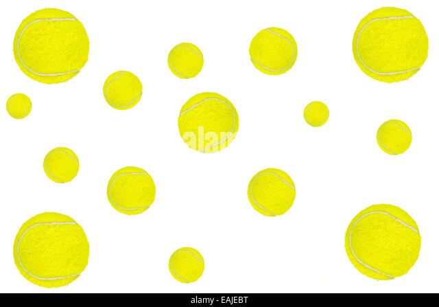 Background made of tennis balls on white. - Stock Image