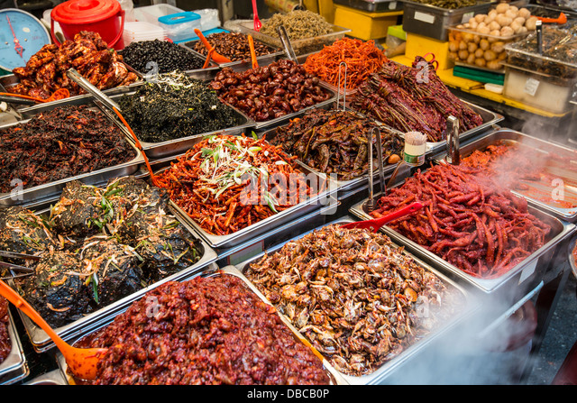 Food on display at Gwangjang Market in Seoul, South Korea. - Stock Image