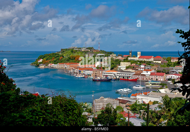 St. George's Grenada harbour carenage seen from above scenic landscape overview - Stock Image