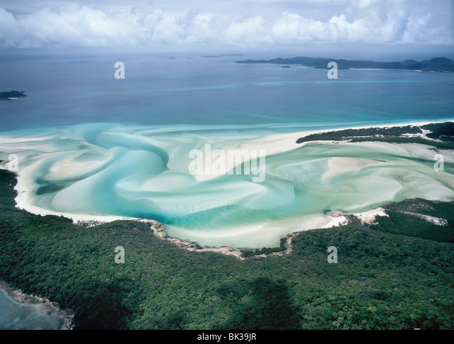 Whitehaven Beach on the east coast, Whitsunday Island, Queensland, Australia, Pacific - Stock Image