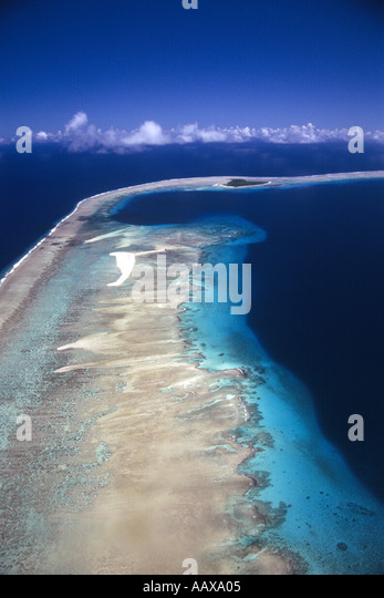 Bravo crater at Bikini Atoll site of the US hydrogen bomb test - Stock Image