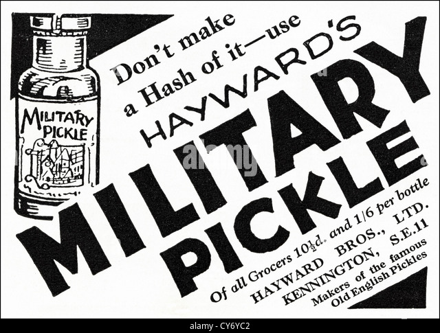 Original 1930s vintage print advertisement from English consumer magazine advertising Hayward's Military Pickle - Stock Image