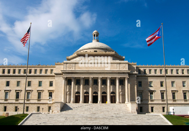 Puerto Rico, Caribbean, Greater Antilles, Antilles, Capitol, government, building, construction, architecture, parliament, - Stock Image