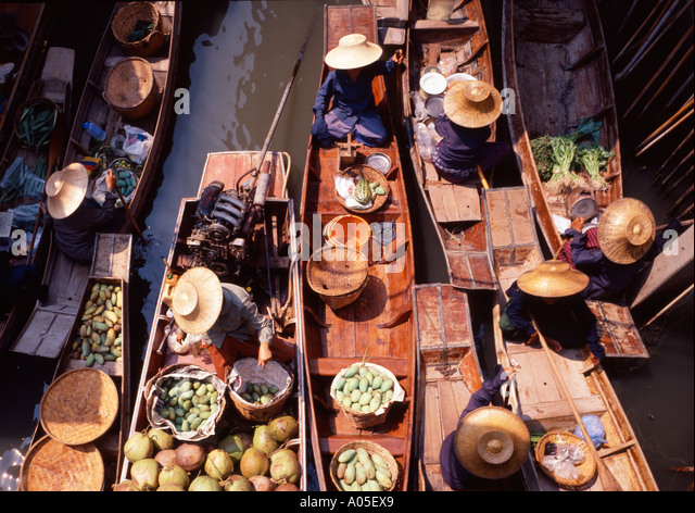 Thailand Bangkok Damnoen Saduak floating market - Stock Image