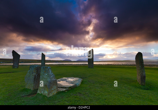 Neolithic Stones of Stenness, Orkney isles - Stock Image