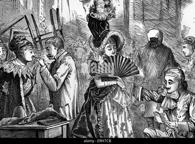 Backstage at a London theatre, 19th century. - Stock Image