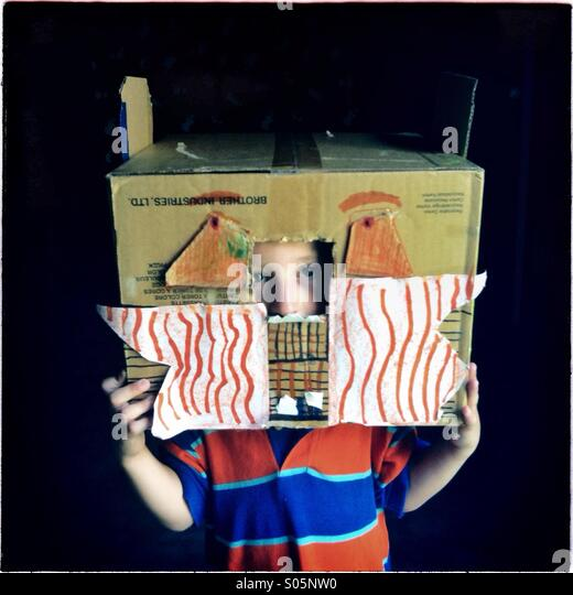 Boy in a cardboard box - Stock Image