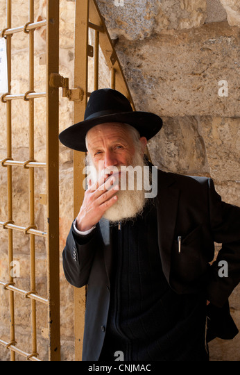 Middle East Israel Old Jerusalem - portrait of an Older Jewish man at the Western Wailing Wall - Stock Image