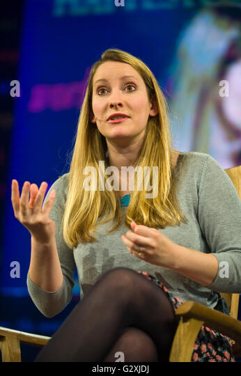 Laura Bates, British feminist writer and founder of the Everyday Sexism Project speaking on stage at Hay Festival - Stock Image