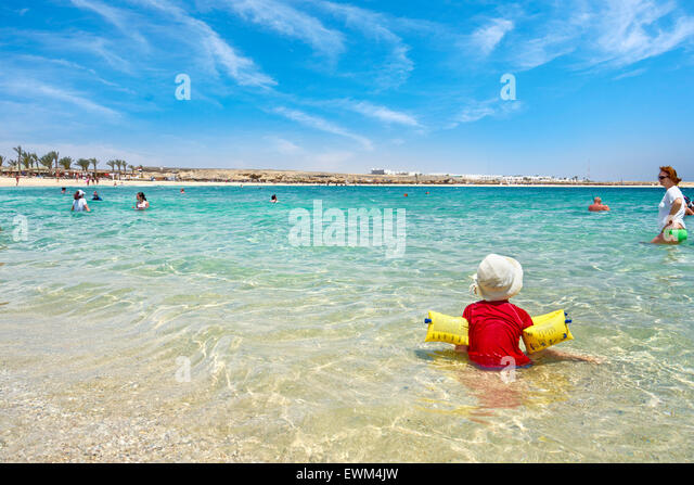 Safe child on the beach, Marsa Alam, Egypt - Stock Image