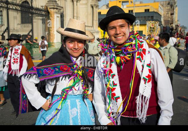 Carnival, Mardi Gras, Ciudad de los Reyes, Historic center of the city, Lima, Peru - Stock Image