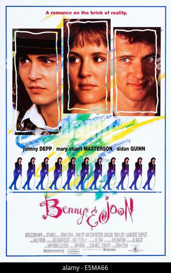 BENNY AND JOON, top l-r: Johnny Depp, Mary Stuart Masterson, Aidan Quinn, bottom: Johnny Depp on poster art, 1993, - Stock Image
