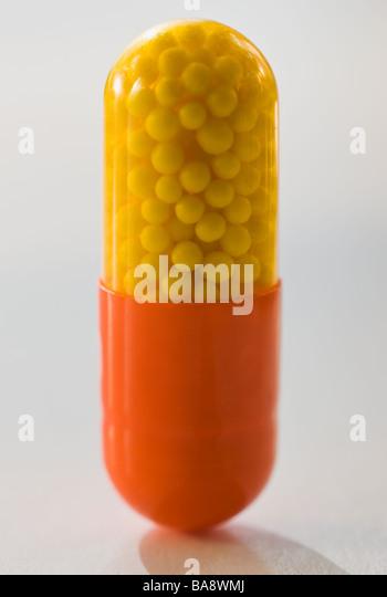Close up of medicine capsule - Stock Image