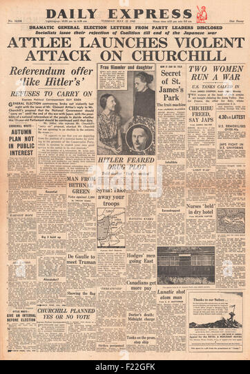 1945 Daily Express front page reporting General Election Announced and Clement Atlee Condemns Churchill - Stock Image
