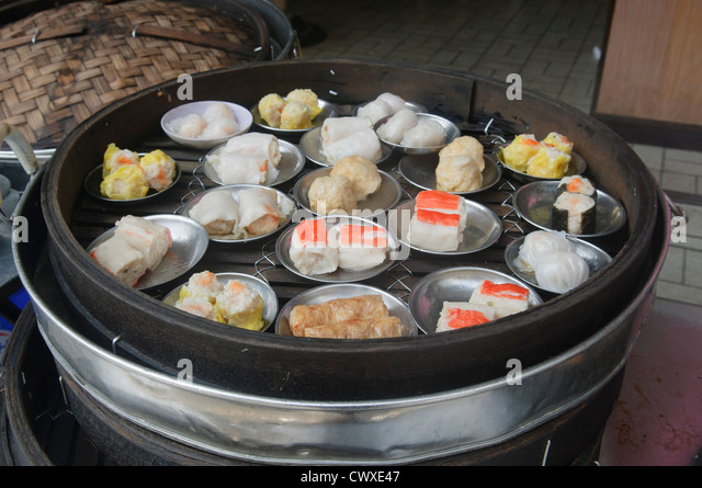 delicious dim sum for sale in Chinatown in Penang Malaysia - Stock Image