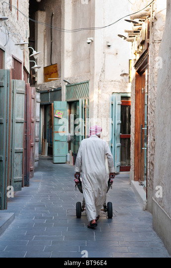 trader man in qatar doha souk - Stock Image