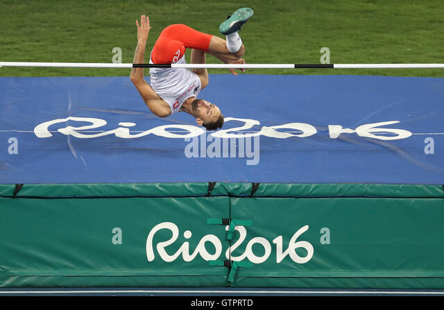 Brazil. 09th Sep, 2016. MAMCZARZ Lukasz (POL) taking the T42 men's high jump during Paralympic Games Rio 2016. - Stock-Bilder