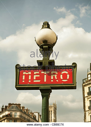 Close up of metro sign in Paris - Stock Image
