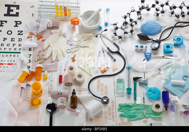 Horizontal image of medical props - Stock-Bilder