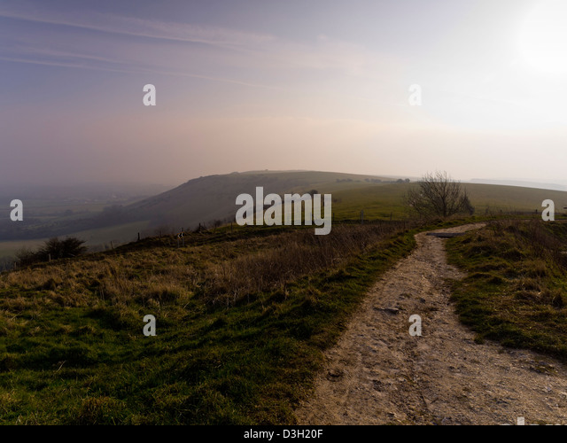 Early morning in the South Downs National Park, Sussex, England, UK,  taken from the summit of Ditchling Beacon - Stock Image