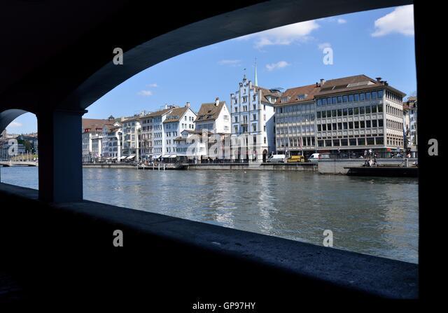 Limmat River seen from the Schipfe, Zurich, Switzerland - Stock Image