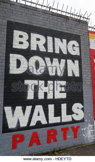 Bring Down The Walls Party - International Peace Wall,Cupar Way,West Belfast , Northern Ireland, UK - Stock Image
