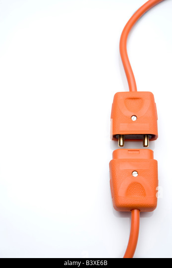 Two Orange Electric Plugs - Stock-Bilder