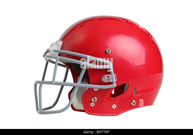 Football helmet on white background - Stock-Bilder