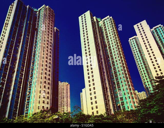 High council flats towers in Hong kong, China - Stock-Bilder