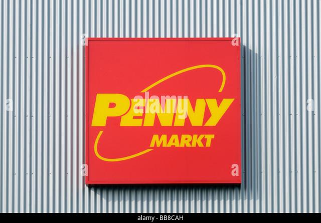 Sign, Penny Market on frontage of corrugated iron - Stock Image
