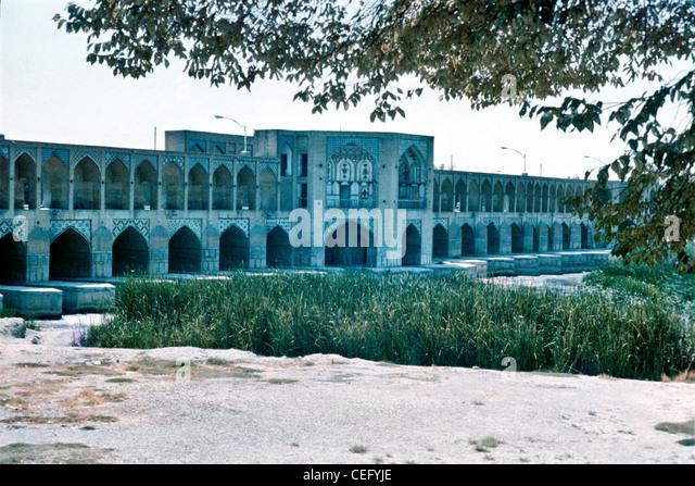IRAN, ISFAHAN: Khaju Bridge is the finest bridge in the province of Isfahan, Iran. It was built by the Persian Safavid - Stock-Bilder