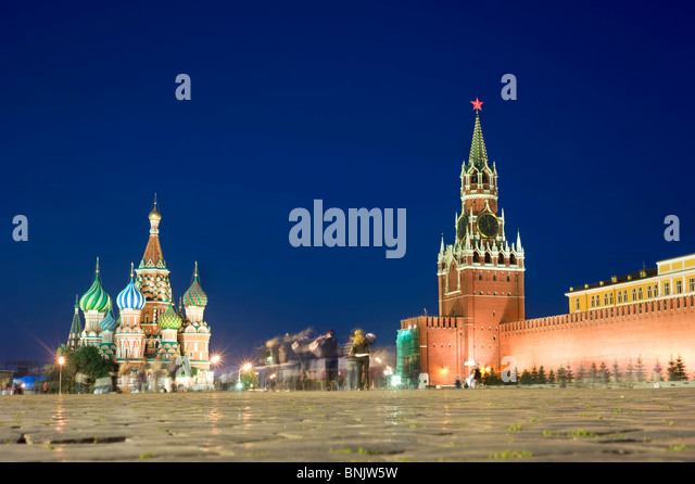 Red square at night, Moscow. Russia - Stock Image