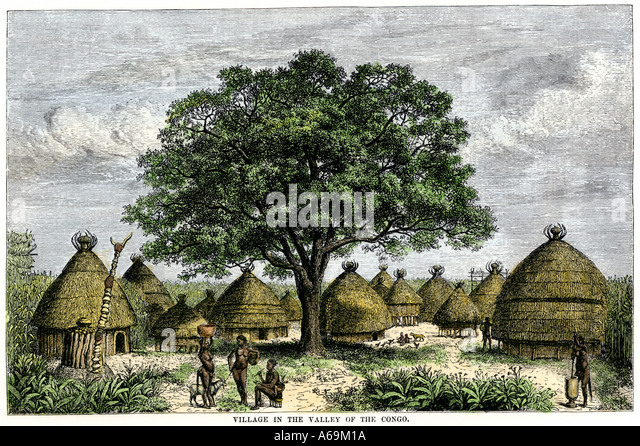 Village in the valley of the Congo River Africa 1800s - Stock-Bilder