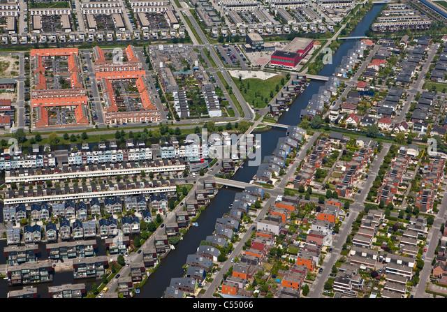 The Netherlands, Almere, Modern residential areas. Aerial - Stock-Bilder