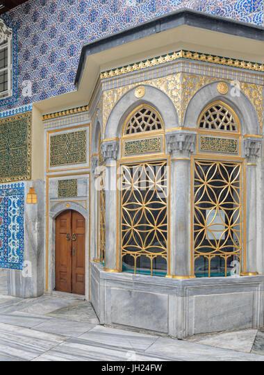 Exterior view of the shrine of Hazrat Abu Ayub Ansari, Eyup Sultan MosqueIstanbul, Turkey - Stock Image