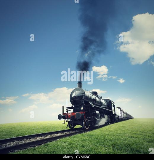 steam engine train crosses a green lawn - Stock Image