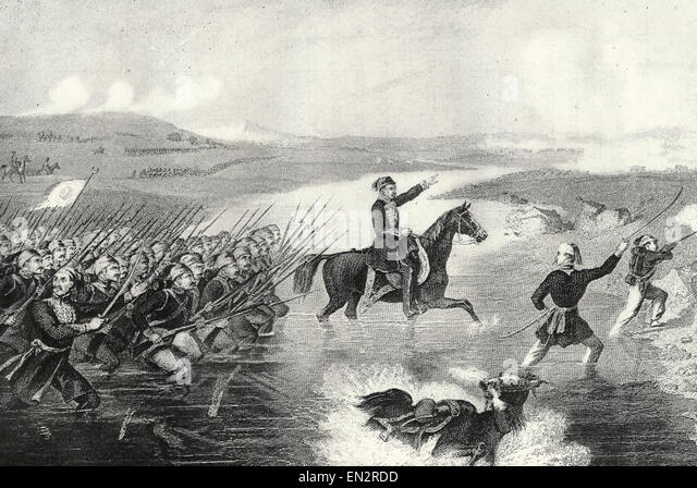 Passage of the Ingour during the Crimean War, 1856 - Stock Image