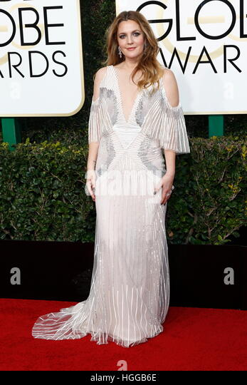 Beverly Hills, Us. 08th Jan, 2017. Drew Barrymore arrives at the 74th Annual Golden Globe Awards, Golden Globes, - Stock-Bilder